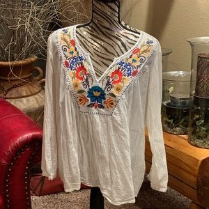 Merona Tops - Embroidered flowy top